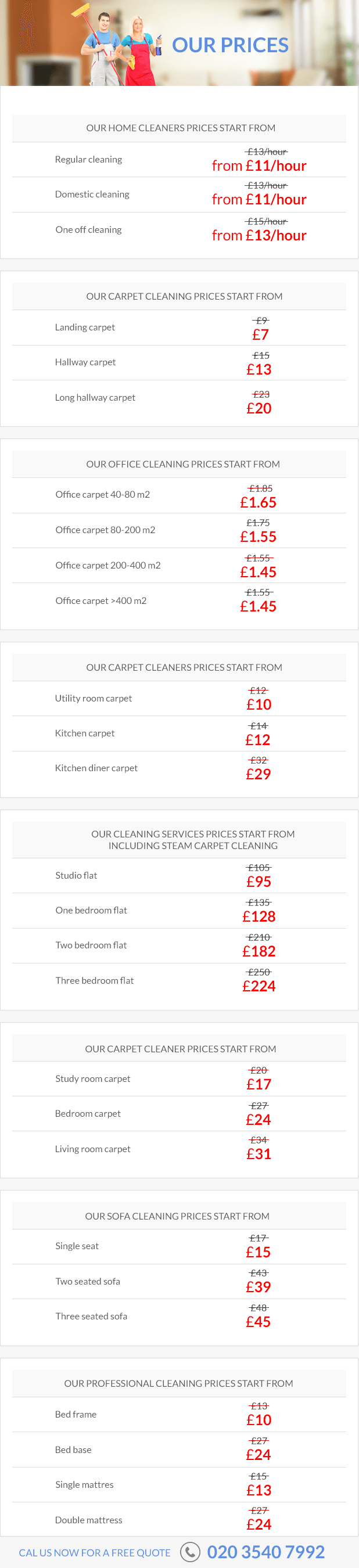 Competitively priced cleaning services in London